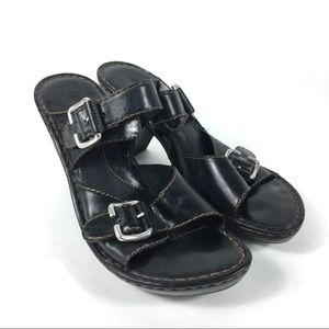 Boc Born Black Leather Sandal Slide Heels Sz 10